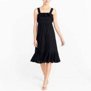 J.Crew Midi black dress in cotton clip-dot size 8